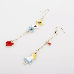 New Cute Alice and Wonderland Drop Metal Earrings